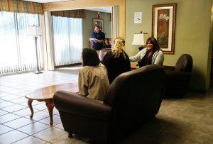 Enjoying conversation at Jackson Towers